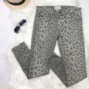 Current Elliott Stiletto Leopard Skinny Jeans